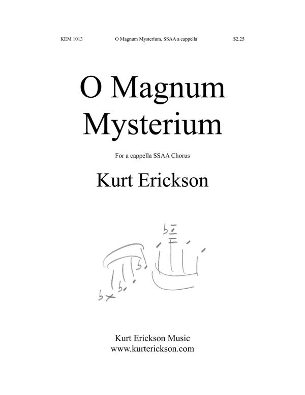 Kurt Erickson O Magnum Mysterium SSAA a cappella