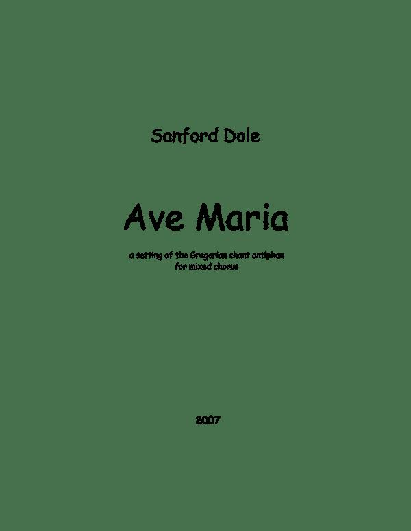 Sanford Dole Ave-Maria-Full-Score