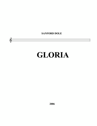 SDE-007 Sanford Dole Gloria SATB